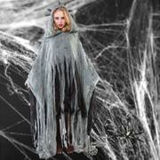 Halloween Poncho Zombie grau Einhgr. Umhang Überwurf Fetzen-Optik Fasching