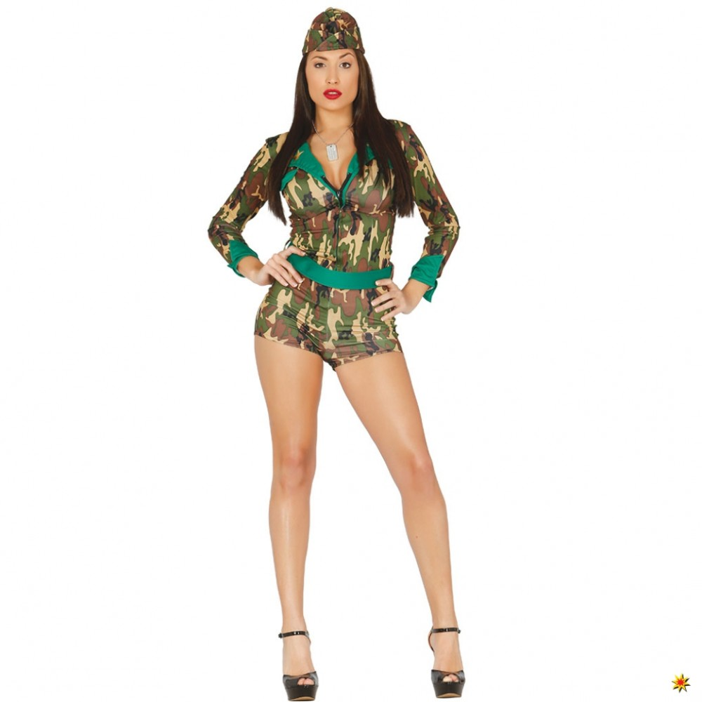 Kostüm Army Girl Tarnfleck Overall Hut Militär Jungle Lady Fasching