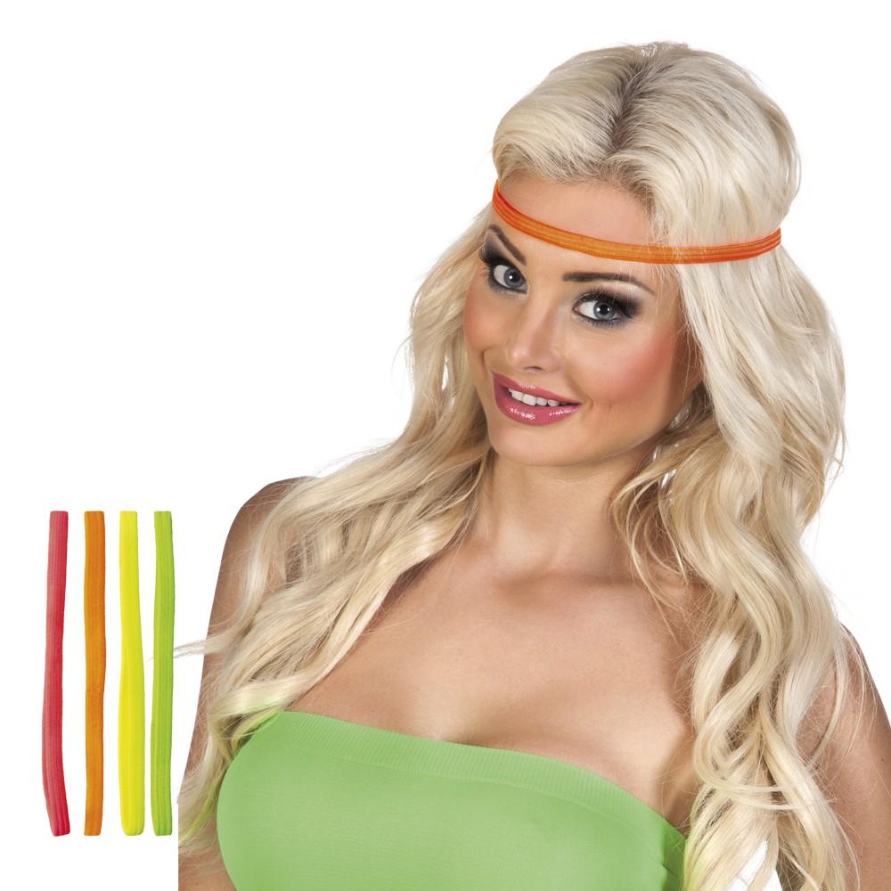 Haarbänder neon 4er Set Stirnband 80er 90er Jahre Mottoparty Neonparty 2