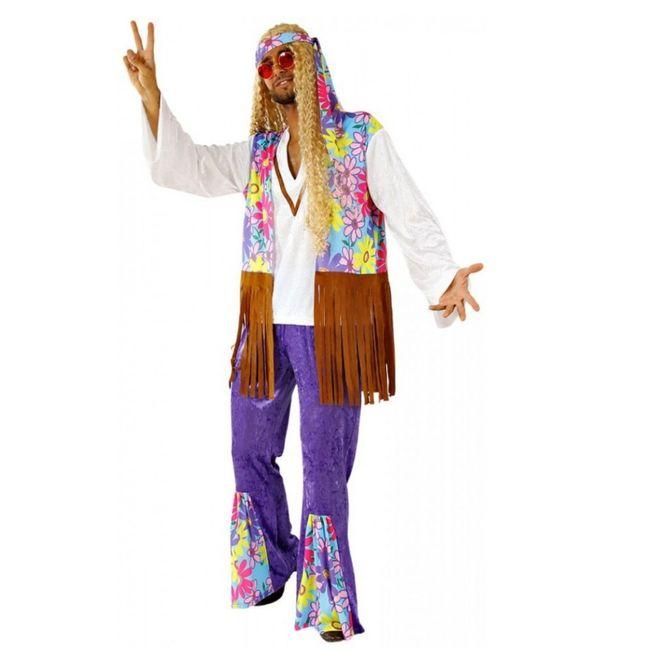 Kostüm Hippie Joe Oberteil Hose Stirnband 70er Jahre Fasching Karneval