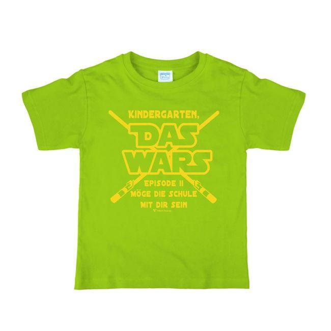 """Schulanfang Kinder T-Shirt Kindergarten """"Das Wars"""" Gr. 110-140 grün Geschenkidee Zuckertüte Junge Mädchen"""