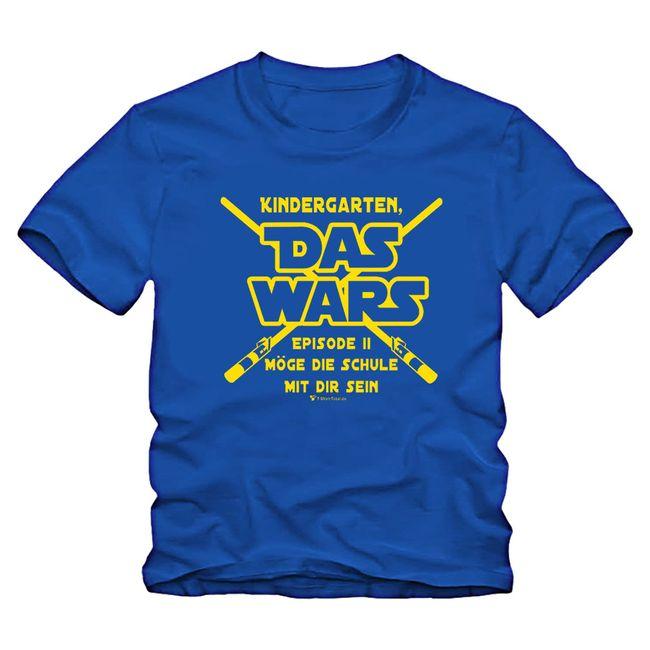 Schulanfang T-Shirt blau hellblau Kindergarten Das Wars Schuleingang Geschenkidee