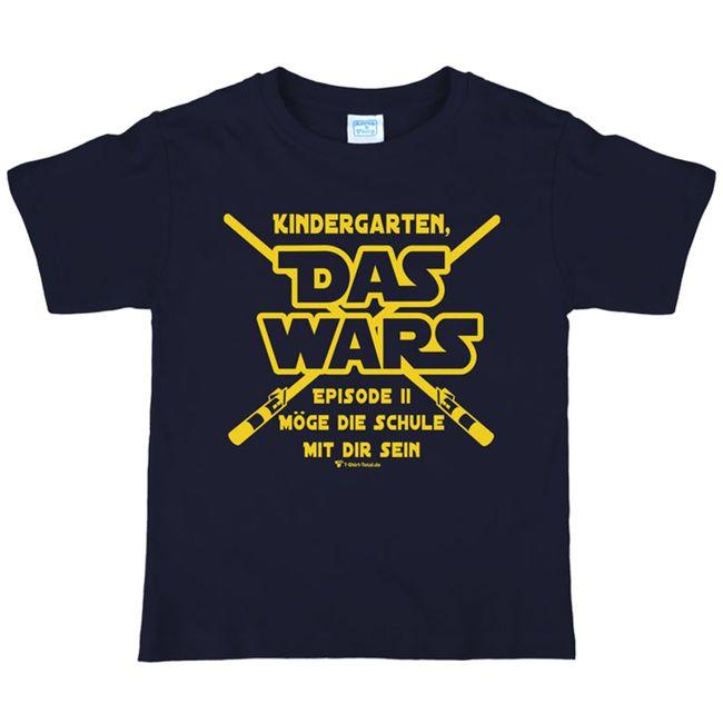 """Schulanfang Kinder T-Shirt Kindergarten """"Das Wars"""" Gr. 110-140 navy Zuckertüte Geschenkidee Schulstart"""