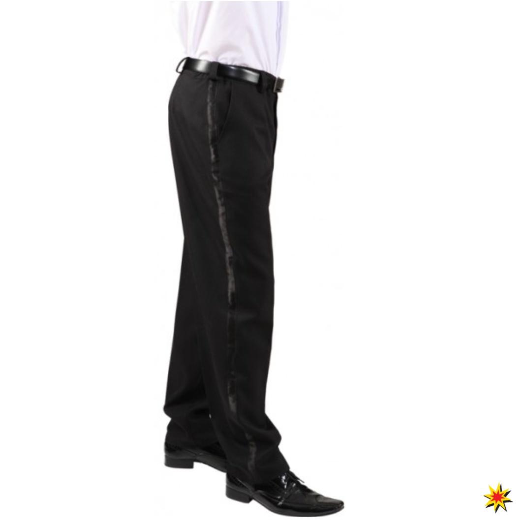 Frackhose schwarz mit Satinstreifen Herren Hose für Frack Kostüm Fasching