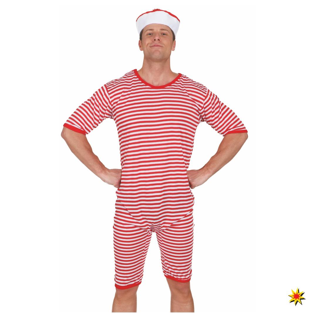 Badeanzug Ringelware rot-weiß 20er Jahre Karneval Schwimmer Strandkostüm