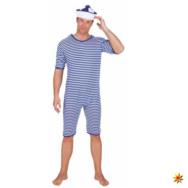 Historischer Badeanzug blau/ weiß 20er Jahre Strand Kostüm Fasching Mottoparty