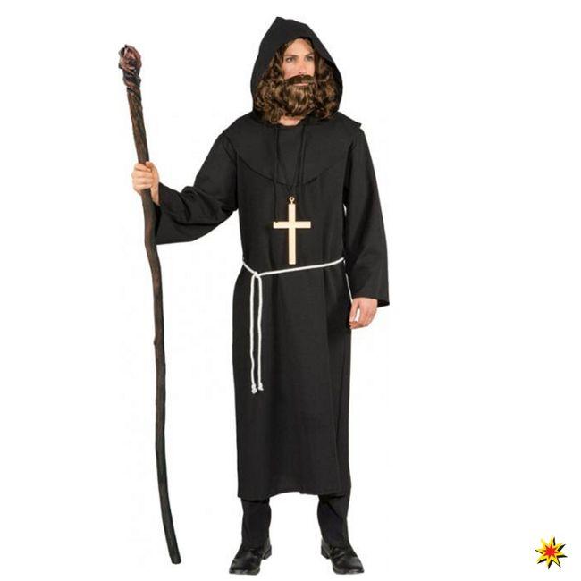 Kostüm Mönch Gr 50- 62 Mönchskutte schwarz Fasching Karneval Geistlicher Kloster