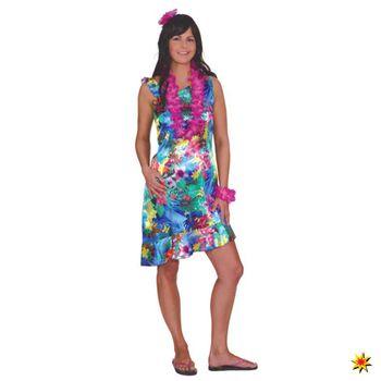 Damen Kleid Hawaii Gr. 36- 46 Bunte Blumen Hawaikleid Südsee Karibik ...