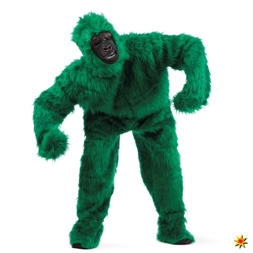 Kostüm Gorilla, Overall Affe grün Größe M