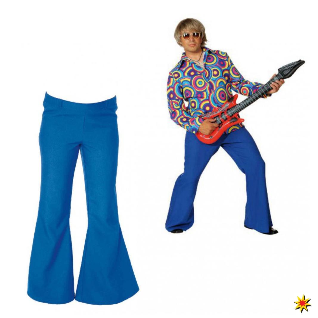 Herren Schlaghose blau Hippie Kostüm Fasching