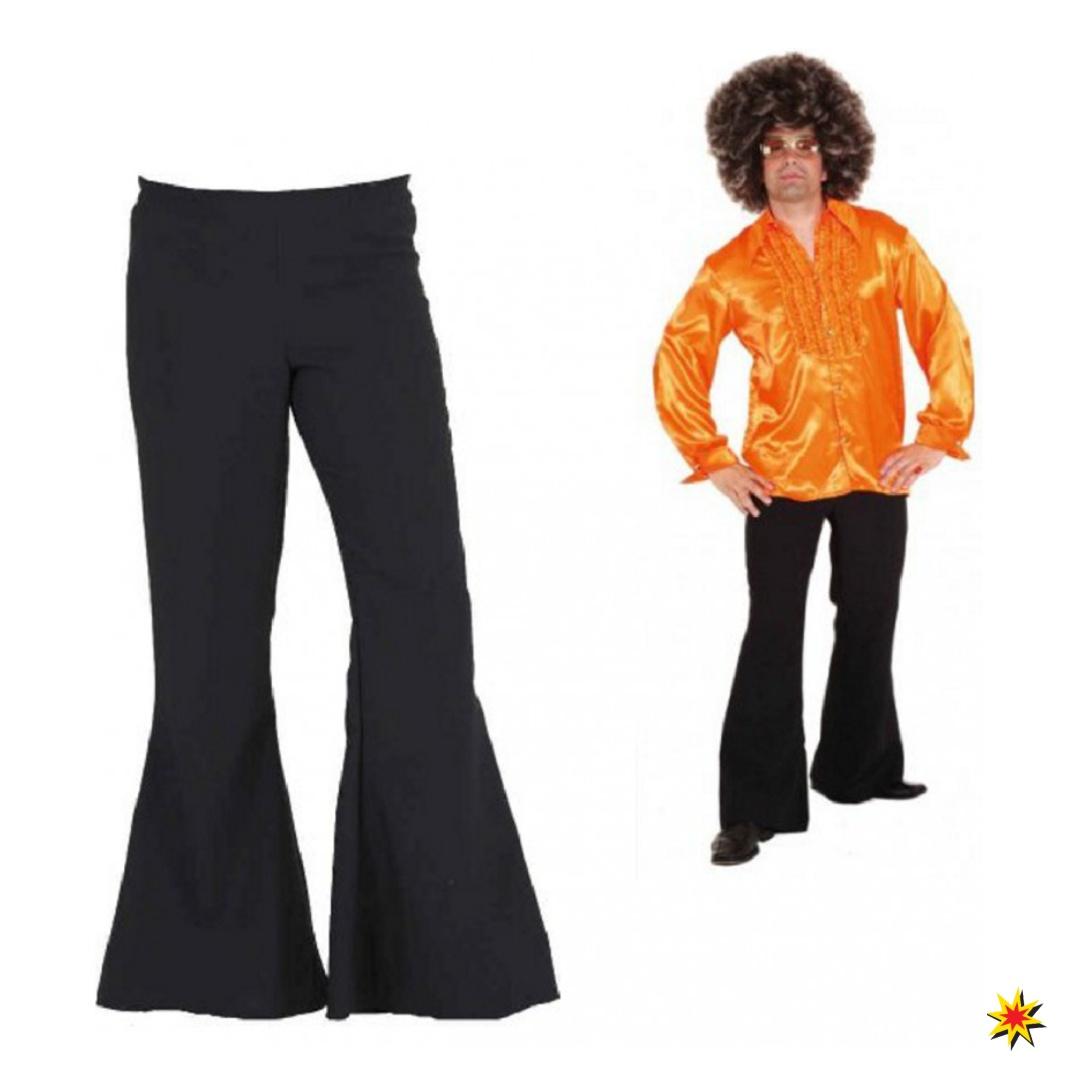 Herren Schlaghose schwarz Kostüm 70er Jahre Fasching