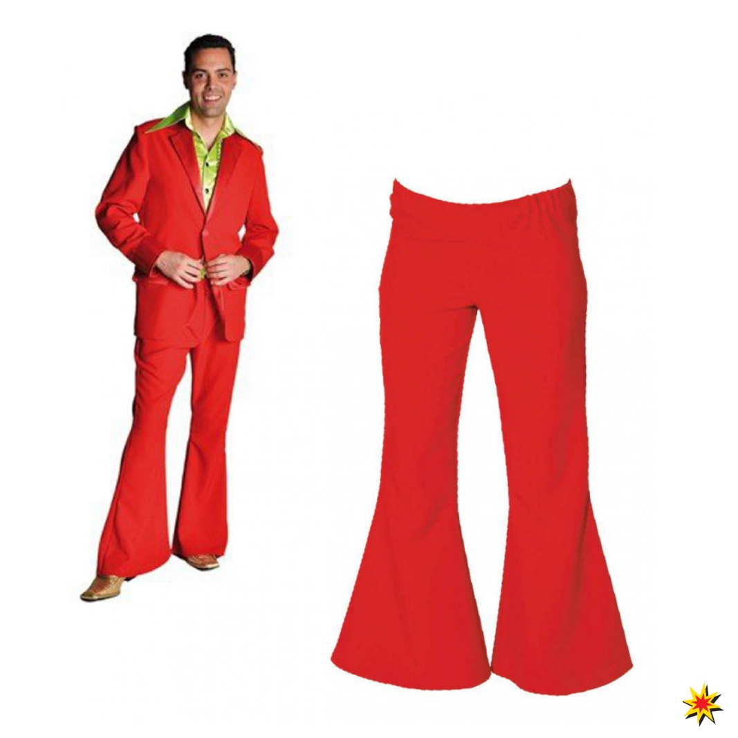 Herren Schlaghose rot Hippie Kostüm Fasching Hose