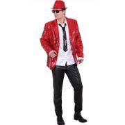 Las Vegas Pailletten-Jacke Show-Sakko für Herren Gr. 48-58 rot Fasching Karneval Mottoparty JGA