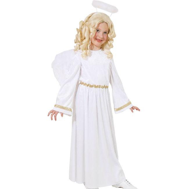 Engel Kostüm Weihnachtsengel Samtkleid mit Gold für Kinder Gr. 128 - 164 Krippenspiel Weihnachten Fasching Karneval Mottoparty