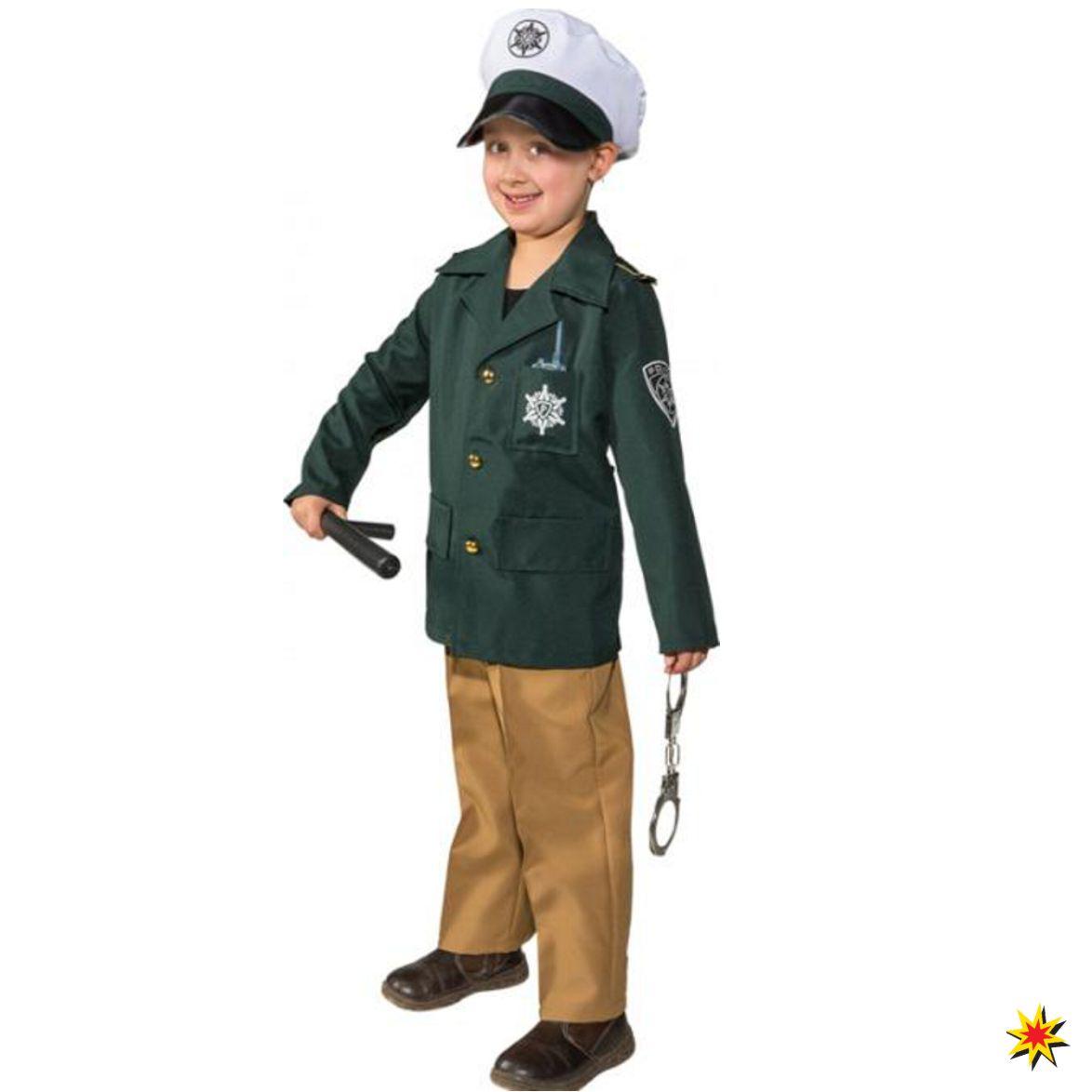 Kinderkostüm Polizist Uniform braun grün Fasching Karneval Polizei
