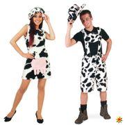Damen Kostüm Kuh Kleid Hut schwarz-weiß Tierkostüm Bauernhof