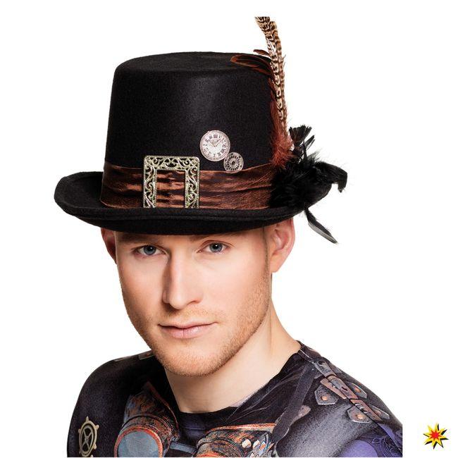 Herren Steampunk Hut schwarz mit Federn braun Fasching Mottoparty Victorian