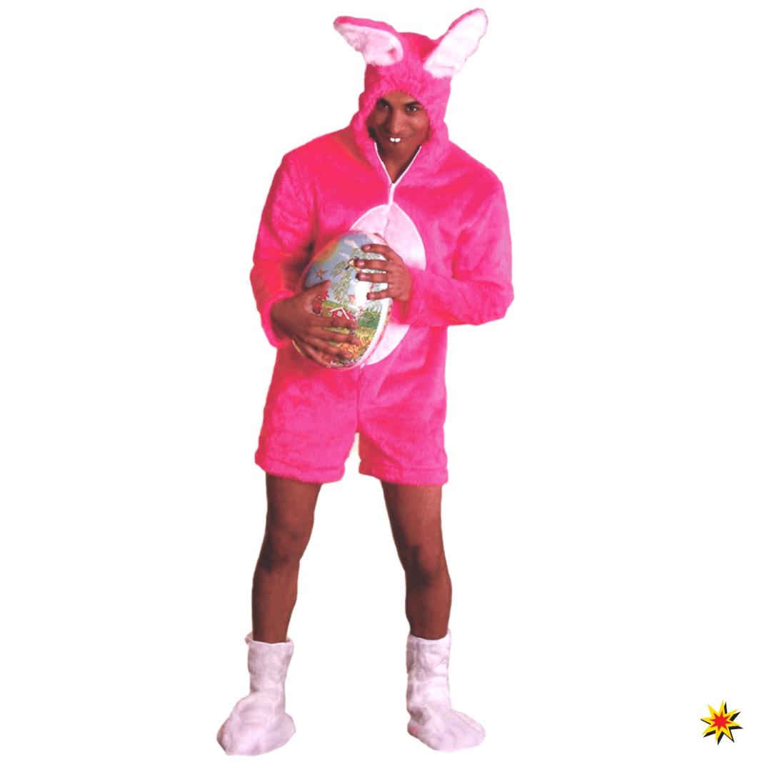 Kostüm Hase pink Kurzoverall Plüschkostüm Hasenkostüm Fasching