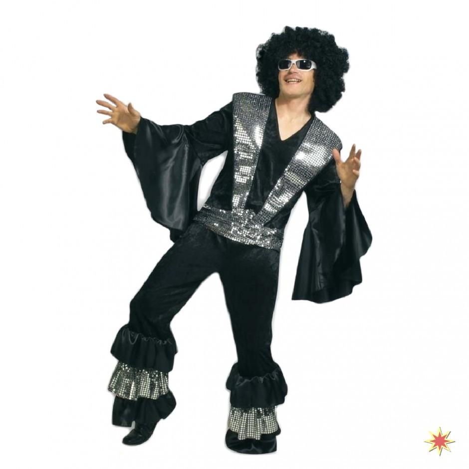Kostüm Disco Bernie  Anzug schwarz/silber Fasching 70er Jahre Karneval