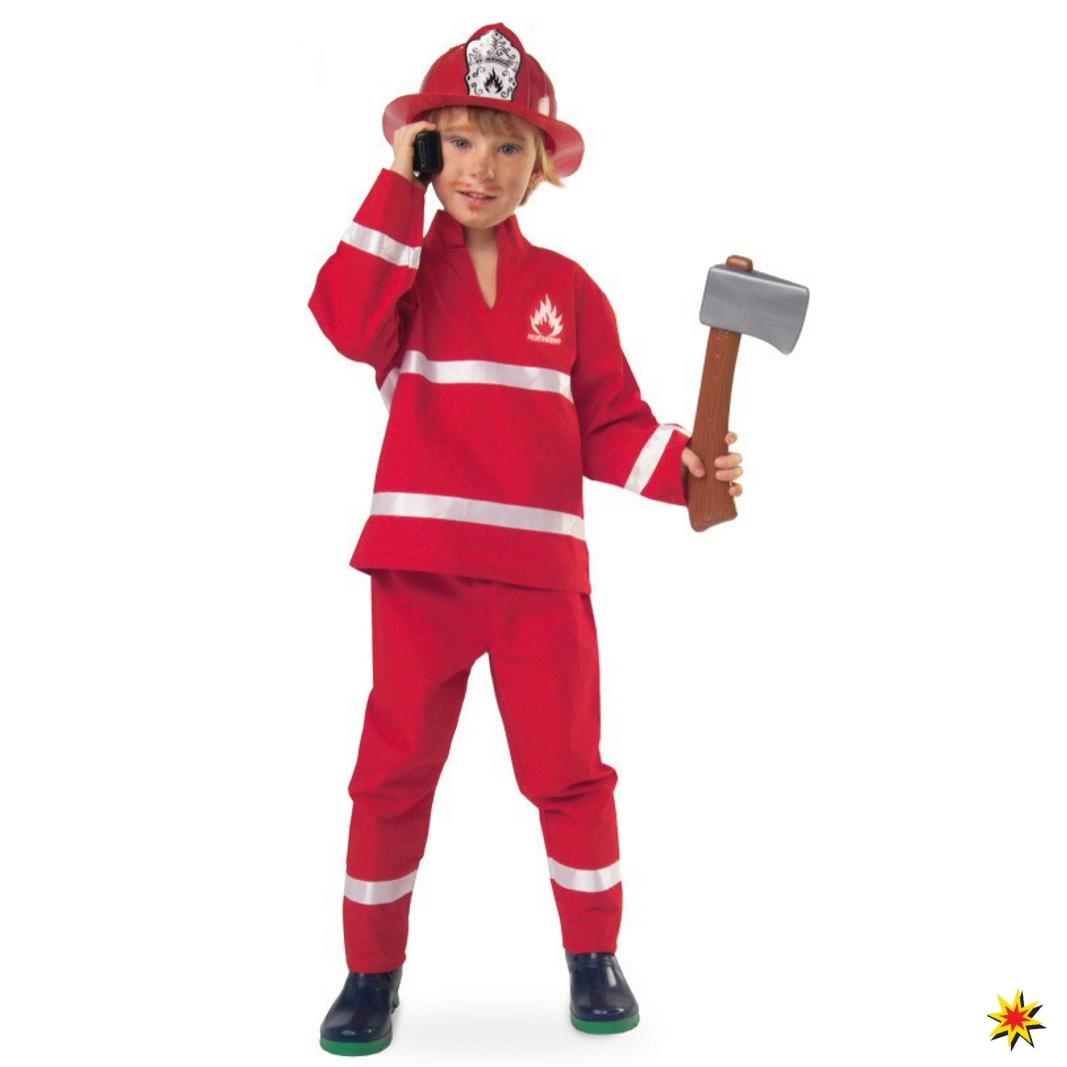 Kinderkostüm Feuerwehrmann Jacke Hose rot Fasching Uniform Feuerwehr