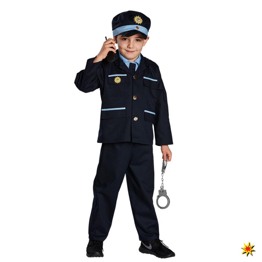 Kinderkostüm blauer Polizist Uniform blau Polizeikostüm Fasching