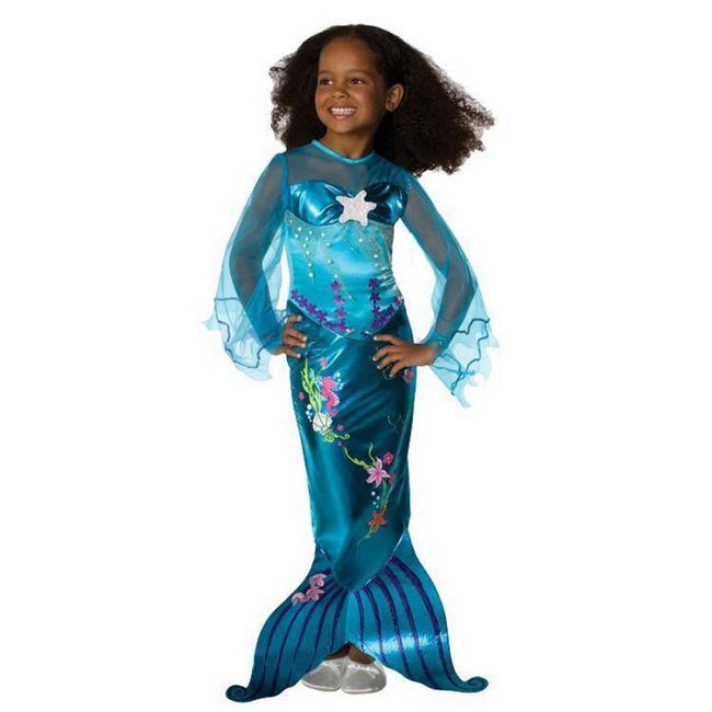 Meerjungfrau Kostüm Blue für Kinder 3-6 Jahre blau Kleid Nixe SALE Fasching Karneval Mottoparty Neptunfest Kinderfasching Kindergeburtstag