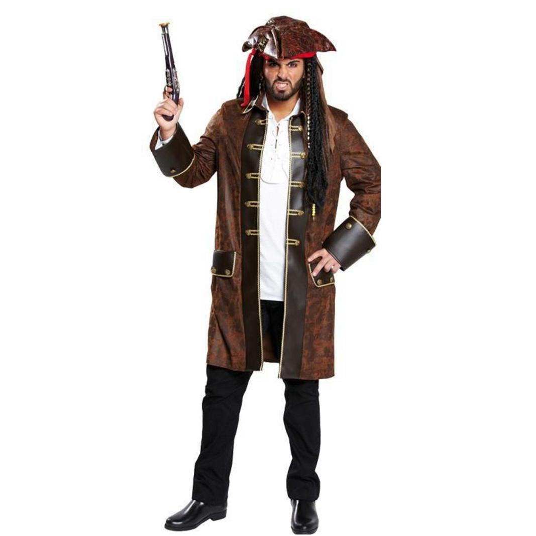 Herren Piratenmantel braun Piraten Kostüm Fasching Seeräuber Pirat