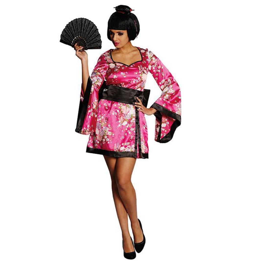 Damen Kostüm Geisha Kleid pink Asien Japan Andere Länder Fasching