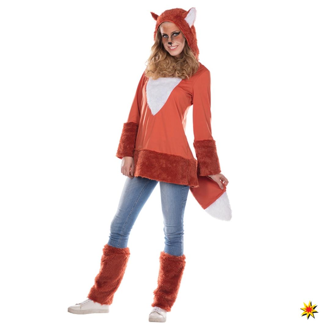 Fuchskostüm für Damen Kleid Stulpen Tierkostüm Fuchs Fasching