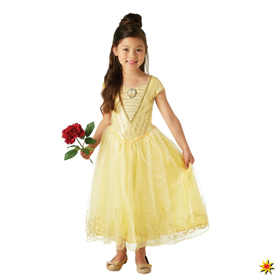Kinderkostüm Die Schöne und das Biest Kleid goldgelb Fasching