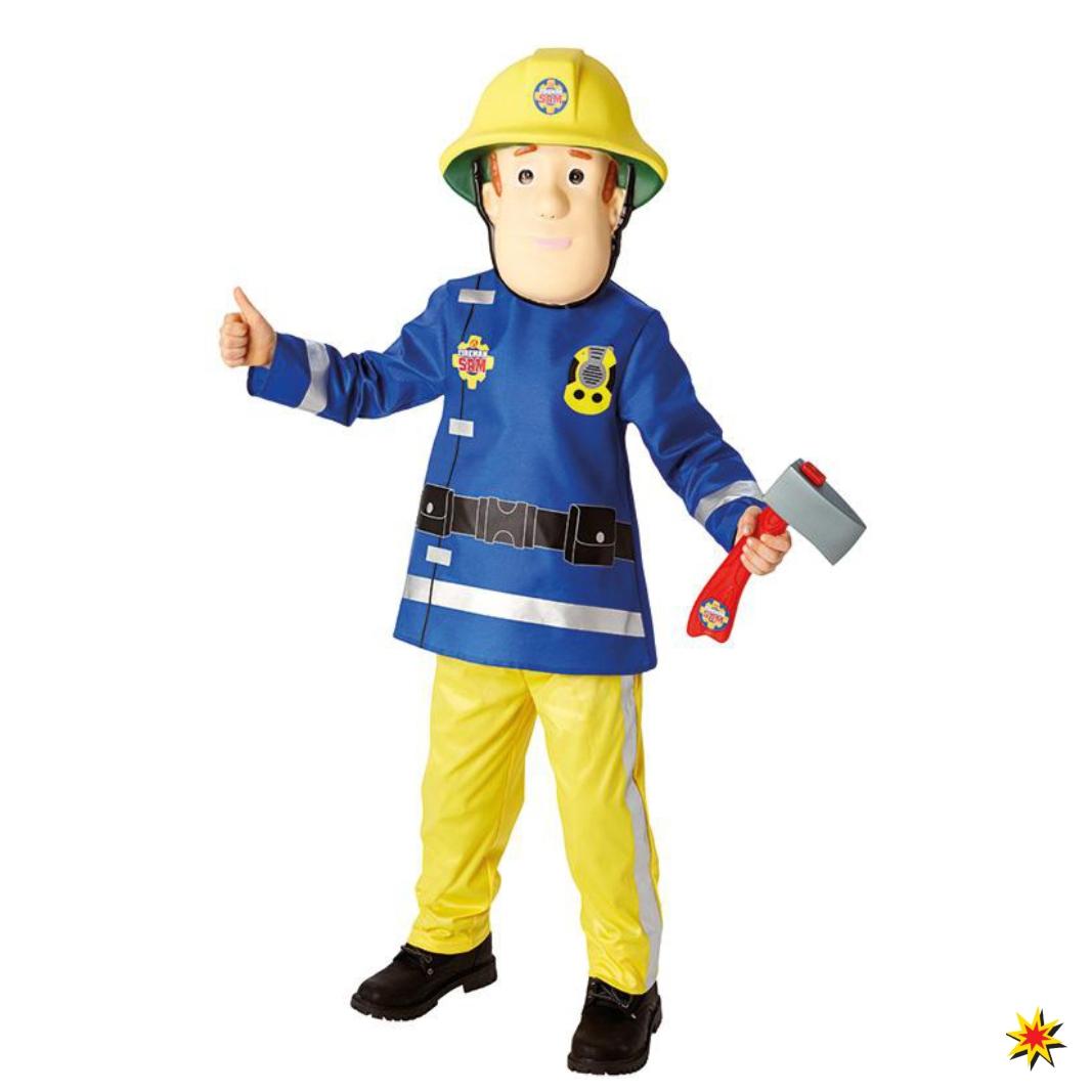 Kinderkostüm Feuerwehrmann SAM Oberteil blau Hose gelb Fasching Feuerwehr