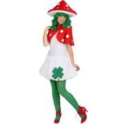 Fliegenpilz Kostüm für Damen 36- 46 bunt Pilz-Kleid Fasching Karneval Mottoparty Garten Natur Wald Glücksbringer