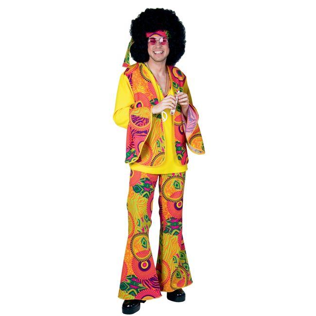 Herren Hippie Kostüm Mr. Yellow Oberteil Hose bunt Fasching 70er Jahre