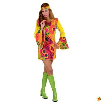 Damen Kostüm Hippie Kleid Mrs. Orange