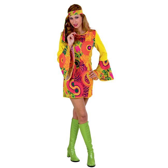 Hippie Kostüm Mrs. Orange für Damen Hippie-Kleid 34-48 bunt SALE 70er Jahre Outfit Retro Schlagermove Fasching Karneval Mottoparty