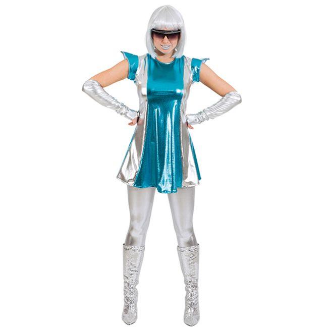 Space Woman Weltraum Kostüm für Damen Gr. 34- 44 Future Lady silber blau glänzend Fasching Karneval Mottoparty Paarkostüm