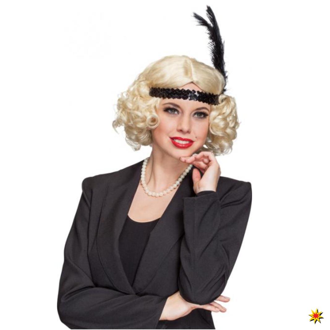 20er Jahre Damen Perücke blond Bob-Schnitt Locken Fasching Charleston