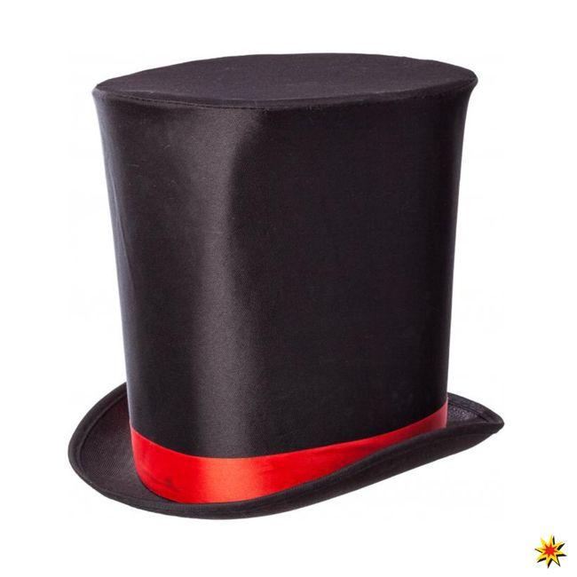 Zylinder hoch mit Band Hut schwarz Gothic Zauberer Kostüme Fasching Zubehör