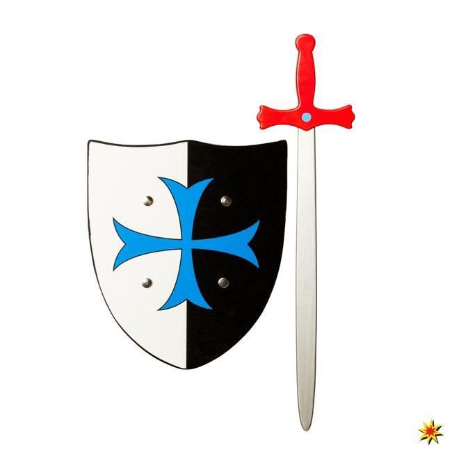 Schild und Schwert aus Holz Ritter Kostüm Zubehör Kinderfasching Spielzeug