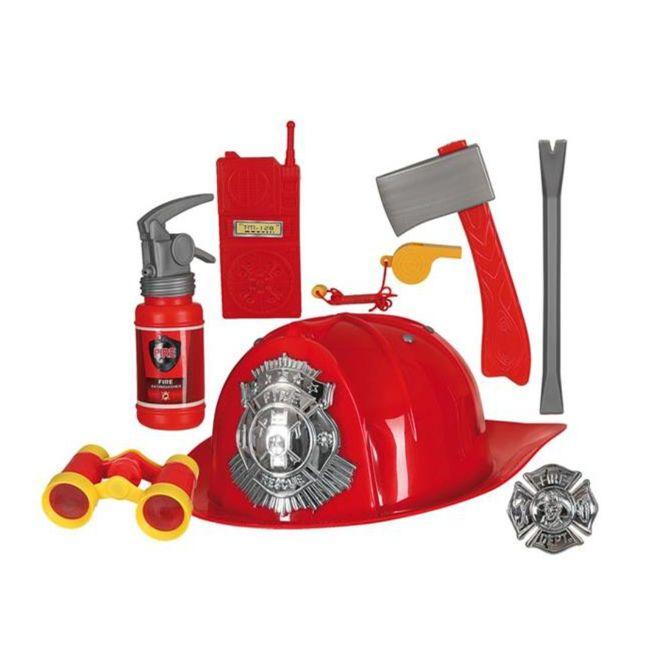 Feuerwehrmann Zubehör-Set 8-tlg. Fasching Spielzeug Feuerwehrhelm rot