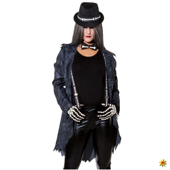 Skelett Kostüm Zubehör-Set Hut Fliege Hosenträger Handschuhe Fasching Halloween
