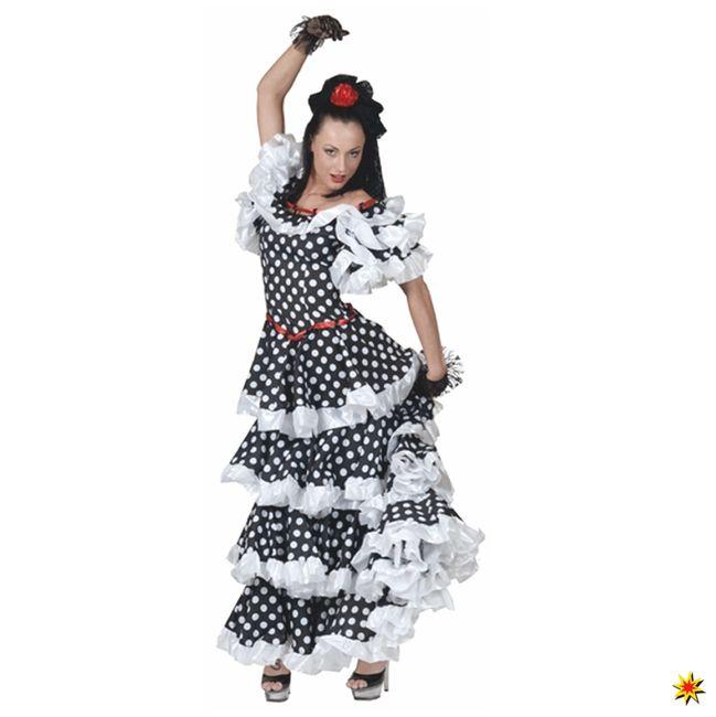 Tango Kostüm Kleid schwarz/weiß gepunktet Spanierin Flamenco Argentinien