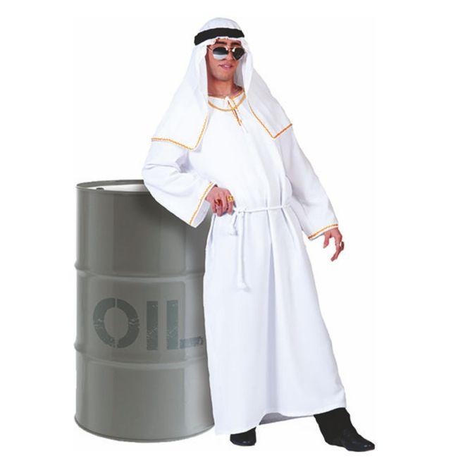 Scheich Kostüm Mr Dubai Tunika weiß Ölscheich Wüstenprinz Araber Fasching