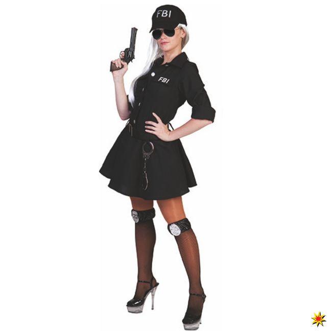 Kostüm flotte FBI Agentin Kleid schwarz Basecap US Polizistin Berufe