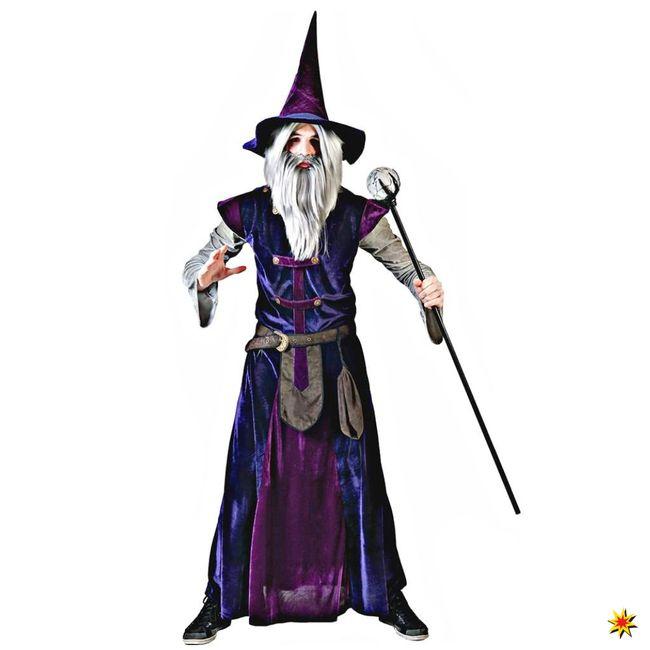 Zaubererkostüm Wizard Mistery Tunika lila Hexenhut Fasching Märchen