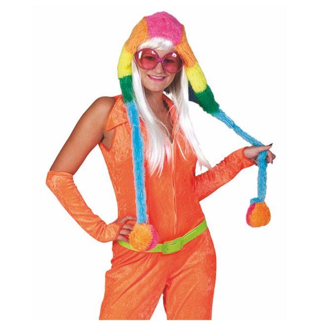 Regenbogen Fellmütze mit Bommeln bunt Hippie Neon Damen Mütze Fasching
