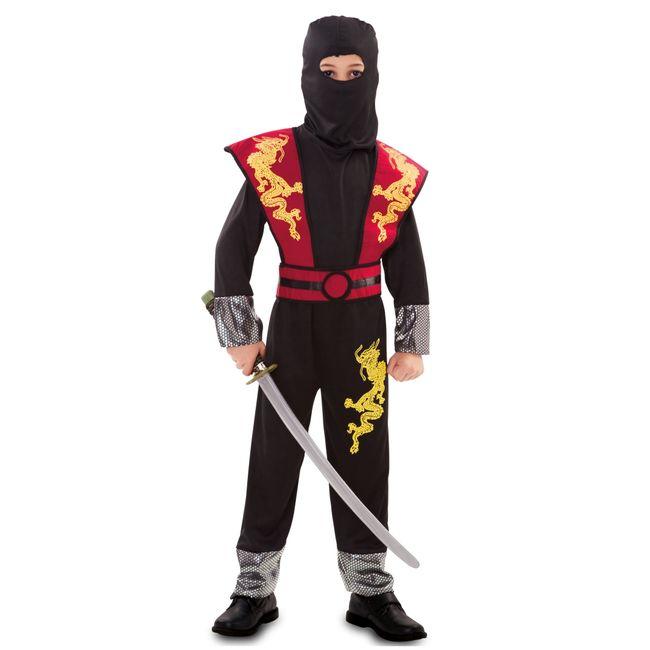 Ninja Kinderkostüm Overall Japaner Krieger Kampfsport Drachen