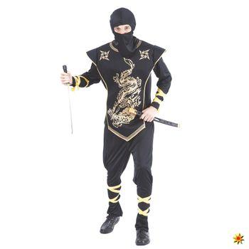 Männer Ninja-Kostüm goldener Drache