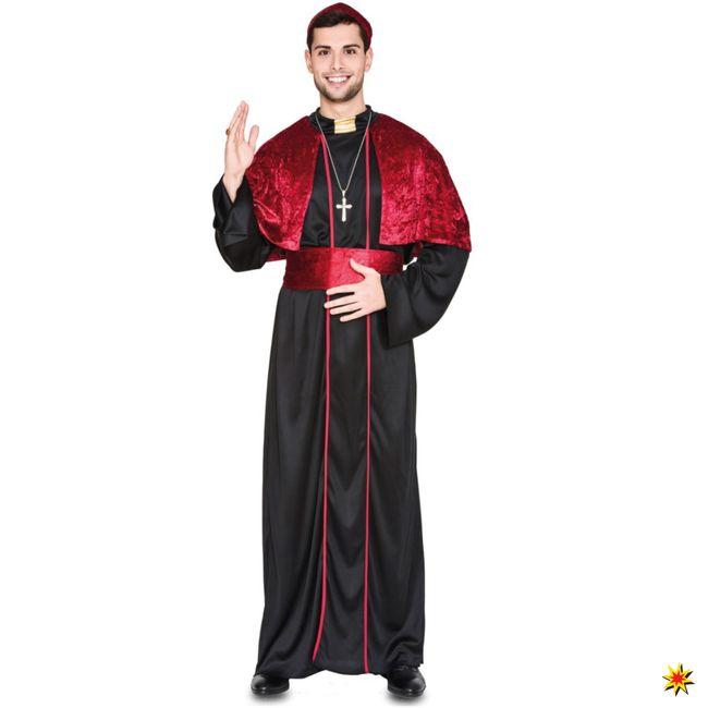Kostüm Bischof Armin Tunika schwarz/rot Fasching Katholik Kirche