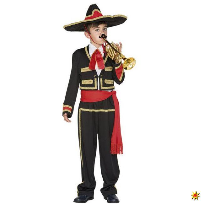 Kinderkostüm Mexikaner Junge Jacke Hose Hut Fasching Mexiko Sänger Musiker